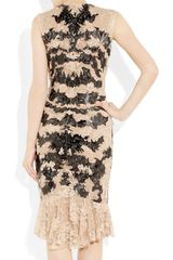 Alexander Mcqueen Lasercut Patentleather and Lace Dress in Black (rose) - Lyst