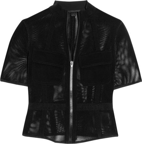 Alexander Wang Mesh And Twill Jacket in Black - Lyst