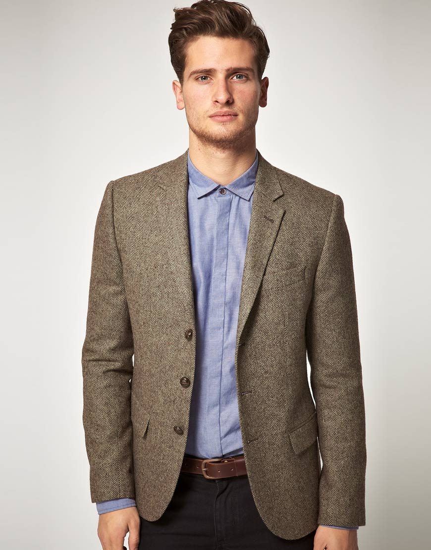 Pure wool Venezia blazer with blue and brown Prince of Wales check