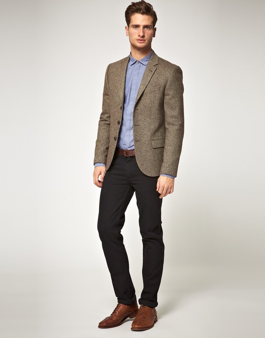 Asos Asos Slim Fit Herringbone Blazer in Brown in Brown for Men | Lyst