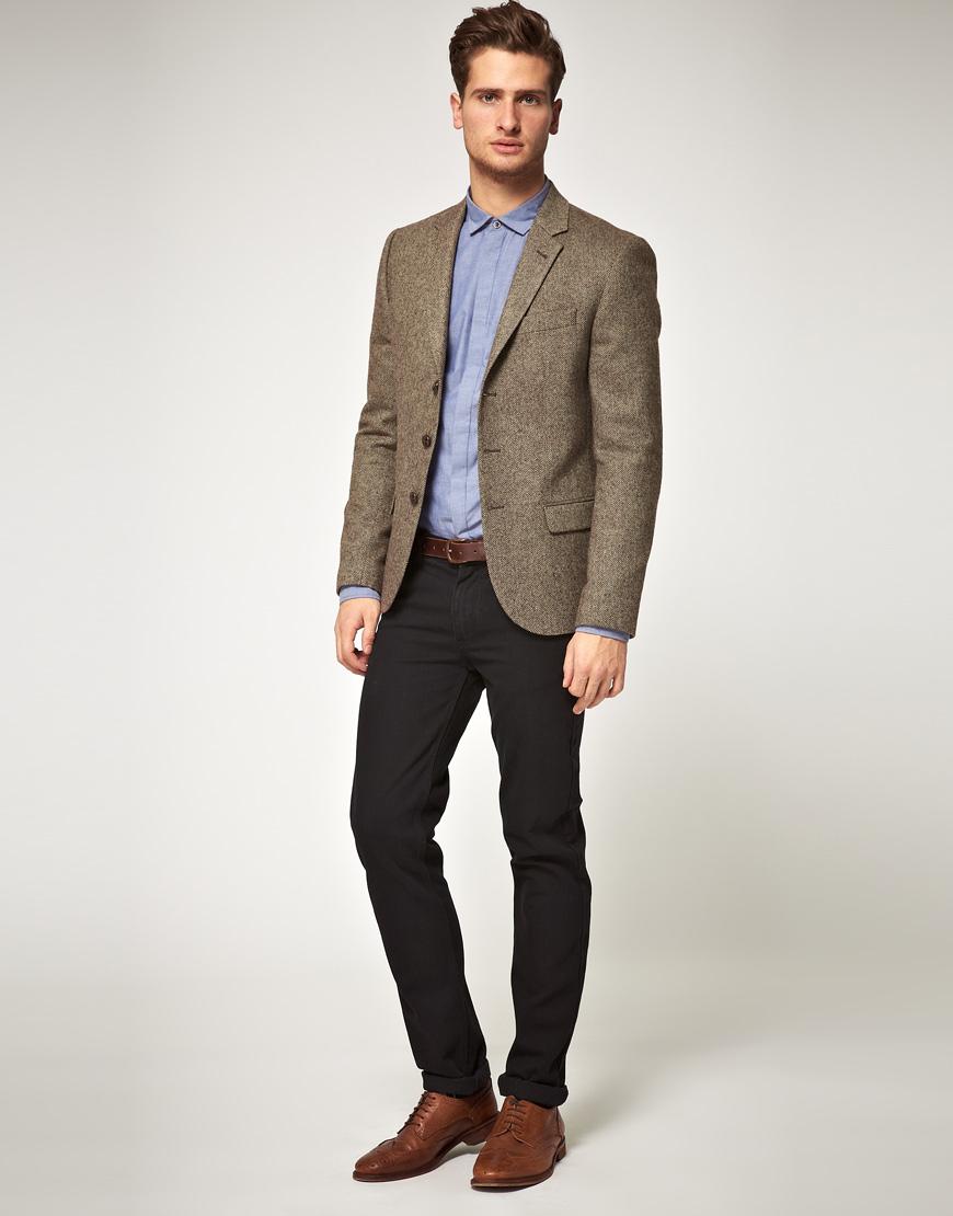 Asos Asos Slim Fit Herringbone Blazer in Brown in Brown for Men | Lyst