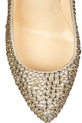Christian Louboutin Daffodile 160 Crystalembellished Suede Pumps in Gold (silver) - Lyst