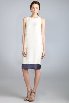 Cynthia Rowley Ivory Silk Colorblock Banded Hem Shift Dress - Lyst