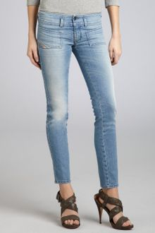 Diesel Pale Blue Stretch Denim Hushy Studded Skinny Jeans - Lyst