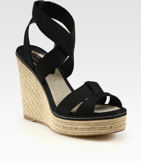 elie tahari pricilla stretchy satin espadrille wedge