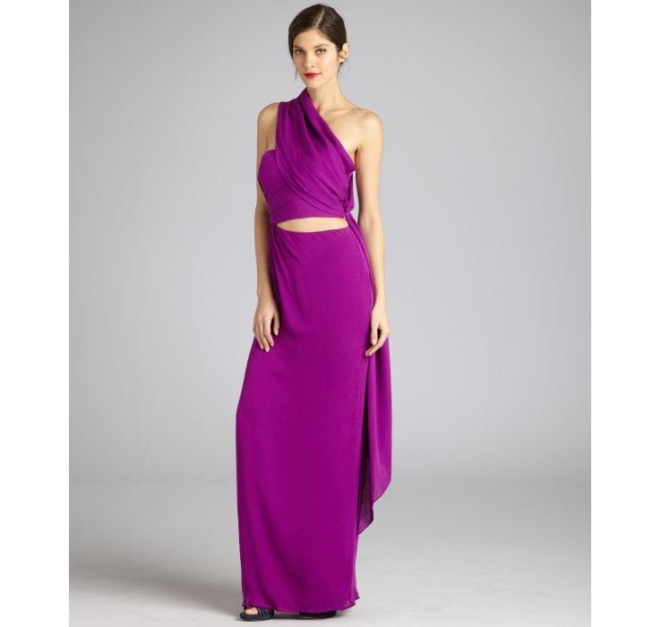 Lyst - Halston Fuchsia Silk Strapless Sarong Evening Gown in Purple