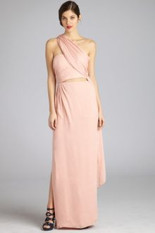 Halston Heritage Bisque Silk Strapless Sarong Evening Gown - Lyst