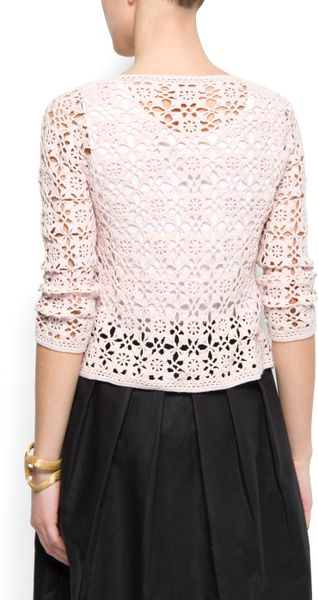 Mango Crochet Cardigan in Pink (p3