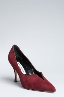 Manolo Blahnik Plum Suede with Grosgrain Trim Sigli Notched Pumps - Lyst