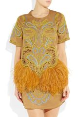 Matthew Williamson Embroidered Feathertrimmed Silkorganza Dress in Yellow - Lyst