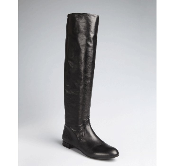 prada black leather flat boots in black lyst