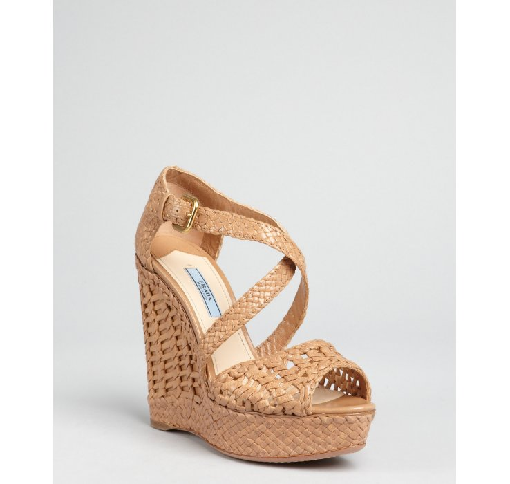 free shipping online Prada Leather Woven Wedges wholesale price for sale 4Uz0T6B