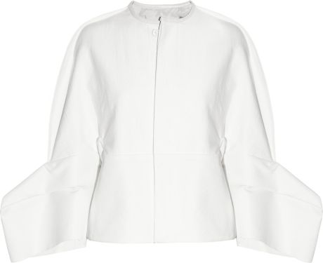 Rick Owens Grosgrainpaneled Twill Jacket in White - Lyst