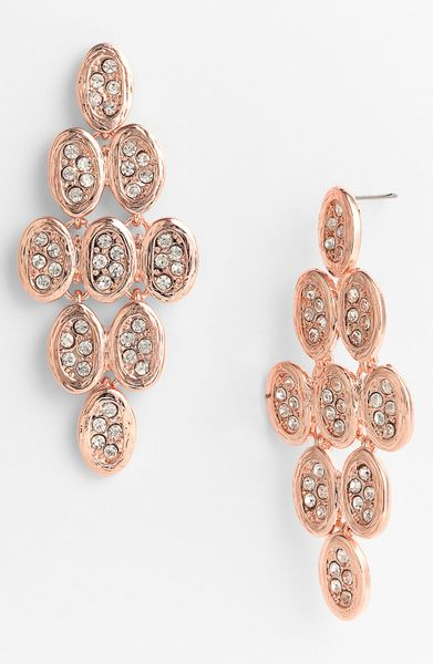 Tasha Crystal Kite Chandelier Earrings in Pink (rose gold) - Lyst