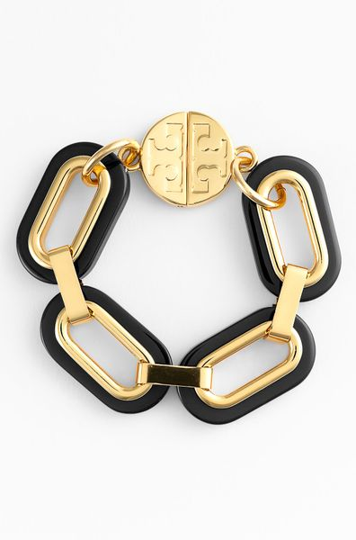 Tory Burch Heidi Link Bracelet in Black - Lyst