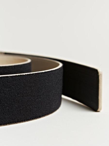 maison martin margiela wide leather velcro belt in beige