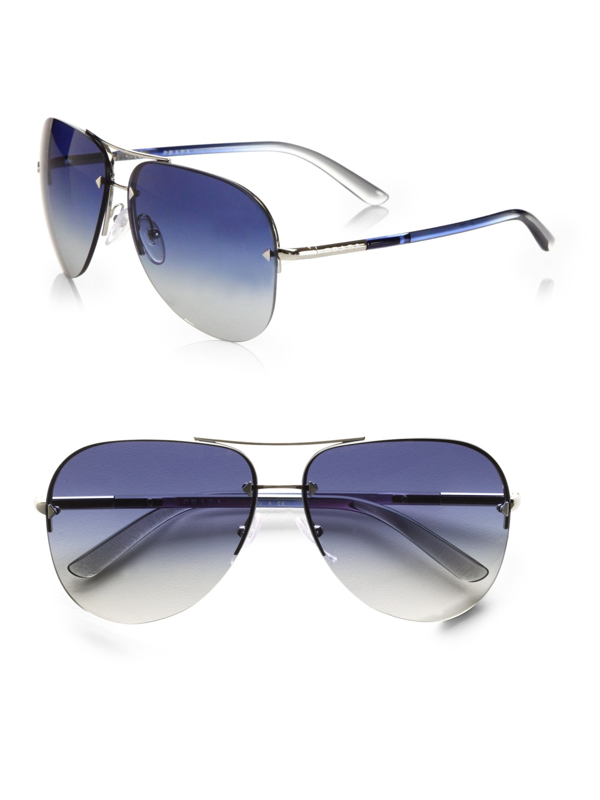 Rimless Aviator Eyeglass Frames : Prada Rimless Aviator Sunglasses in Silver Lyst