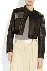 Acne Stars Appliquéd Cropped Leather Biker Jacket in Black - Lyst