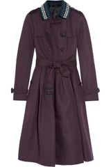 Burberry Prorsum Belted Linen and Cottonblend Trench in Purple (plum) - Lyst