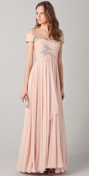Marchesa Off The Shoulder Gown with Beading in Pink (blush) - Lyst