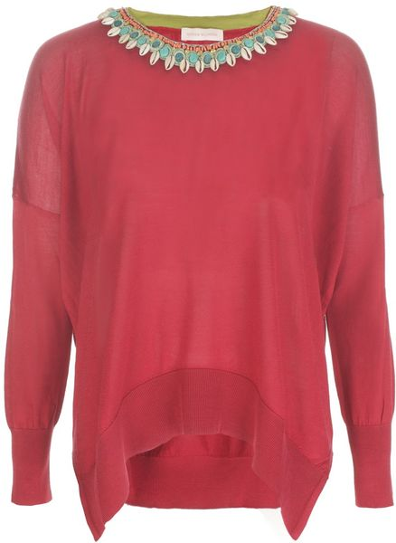 Matthew Williamson Silk Knit Curved Rib Hem Jumper Beaded in Red - Lyst