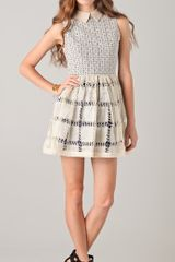 Opening Ceremony Crochet Lace Pleated Dress - Lyst