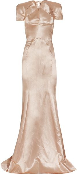 Zac Posen Pleated Satin Gown - Lyst