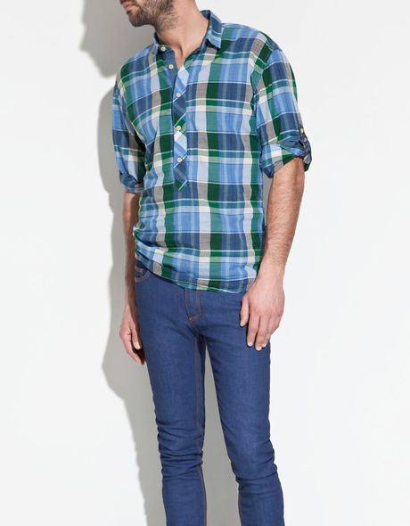 Zara Polo Type Shirt In Green For Men Lyst
