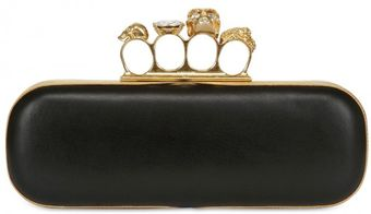 Alexander McQueen Skull Knuckle Box Leather Clutch - Lyst