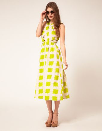 Asos Printed Midi Summer Dress With Cross Strap Bodice - Lyst