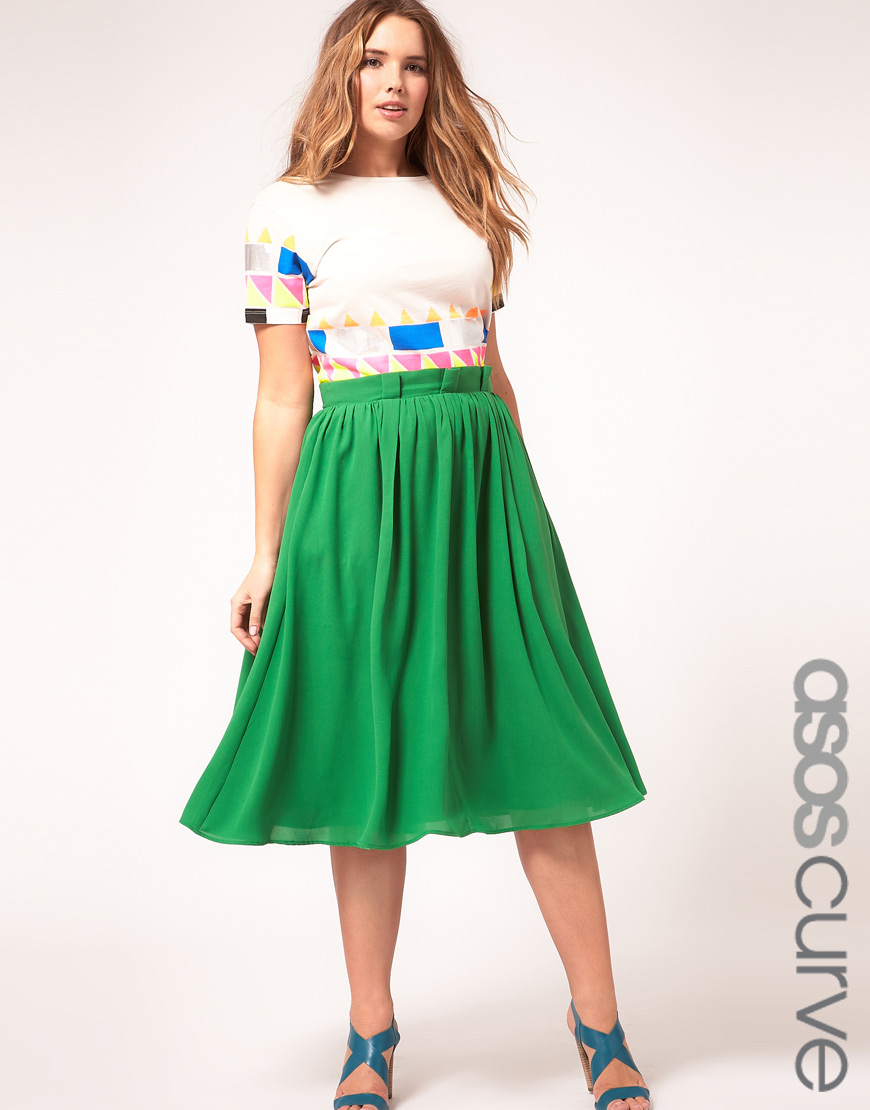 4cc6066bb ASOS Curve Midi Skirt With Paperbag Waist in Green - Lyst