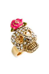 Betsey Johnson Crystal Skull Flower Ring - Lyst