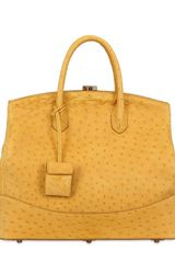 Desmo Sara Ostrich Skin Top Handle - Lyst