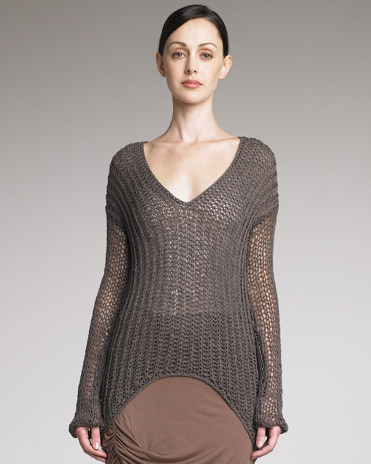 Helmut lang Sheer Knit Longsleeve Sweater in Gray | Lyst