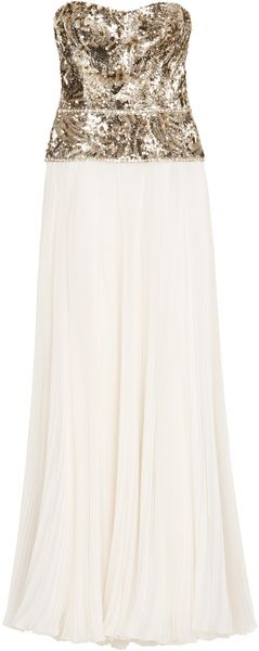 Marchesa Gold Sequin Bodice Gown - Lyst