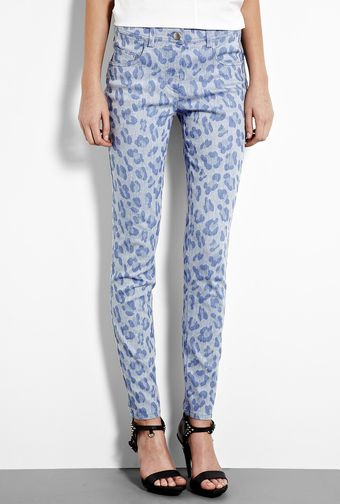 Mw Matthew Williamson Leopard Print Cotton Linen Mix Skinny Trouser - Lyst