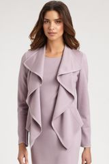 St. John Rufflefront Knit Jacket in Purple (black) - Lyst