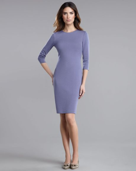 St. John Collection Milano Slim Ponte Dress in Purple (concord) - Lyst
