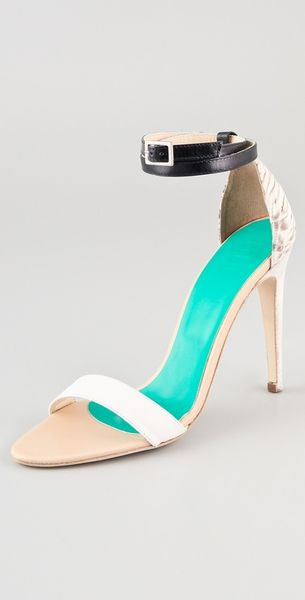 Tibi Amber Snake High Heel Sandals in White