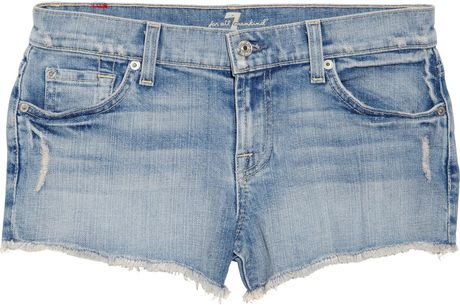 7 For All Mankind Low Rise Stretch Denim Shorts in Blue (denim) - Lyst