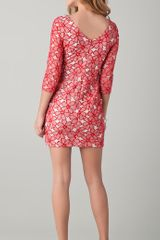 Diane Von Furstenberg Sarita Lace Dress in Red (chalk) - Lyst