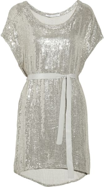 Diane Von Furstenberg Sol Sequined Silk Chiffon Dress - Lyst