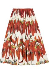 Dolce & Gabbana Chili Pepper Print Cotton Poplin Skirt - Lyst