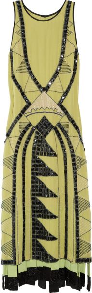 Etro Embellished Silkgeorgette Dress in Yellow - Lyst