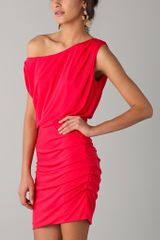 Halston Heritage Off The Shoulder Dress in Red (poppy) - Lyst