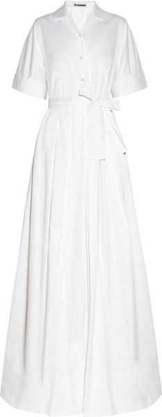 Jil Sander Language Stretch Cotton Gown in White - Lyst