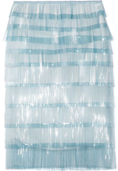 Marc Jacobs Elsa Fringed Tulle Skirt in Blue