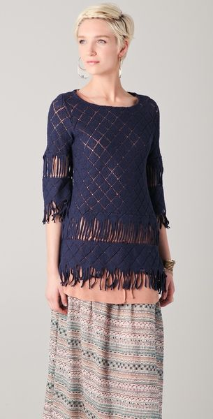 Nightcap Clothing Tribal Fringe Tunic in Blue (midnight) - Lyst