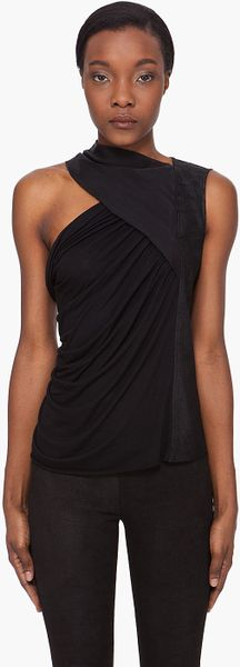 Rick Owens Leather Trimmed Scarf Tank Top - Lyst
