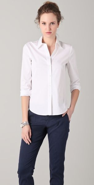 Theory Larissa Shirt in White - Lyst